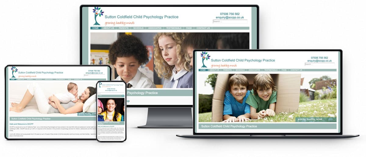 Sutton Coldfield Child Psychology Practice website design and SEO